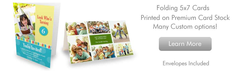 Folded Cards; 5x7 Cards Printed on Premium Card Stock with many custom options