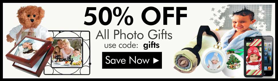 Save 50% On all Photo Gifts