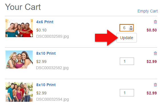 Updating Quantities in your Shopping Cart on Winkflash