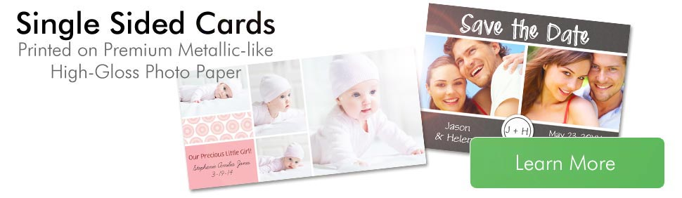 Ultra High Gloss Cards, Personalized Cards; Single Sided Glossy Cards on Premium Metallic-like Photographic Paper