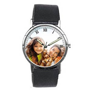 Custom Photo Silver Etched Bezel Watch