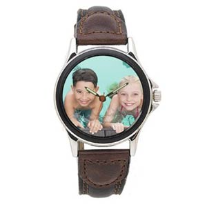 Custom Photo Silver Frame Watch with 2-tone Bezel