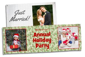 Create a custom banner for your business or holiday party and birthday event