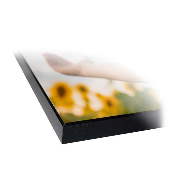 Glossy Wood Photo Panel with black Slightly beveled edge