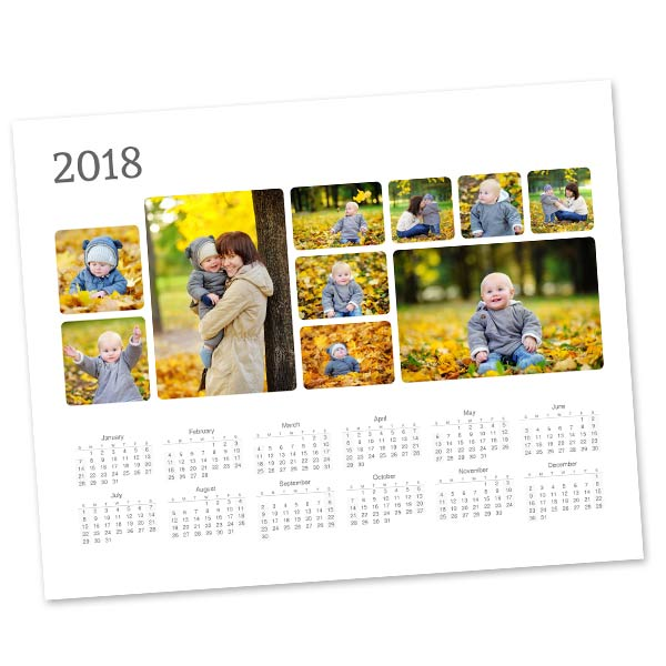 Create a photo collage calendar to keep at your desk for 2018
