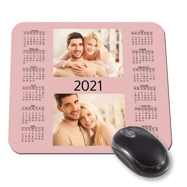 Choose your own background, add pictures and create a 2021 mouse pad calendar