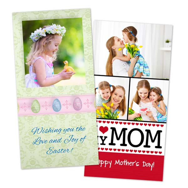 Design your own Easter card or create a photo card for Mothers Day