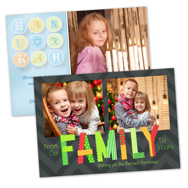 Create your own Hanukkah and Christmas cards using your favorite pictures from this past year