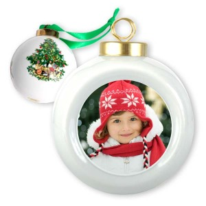 Top off your Christmas decor with our custom photo porcelain ball ornament.