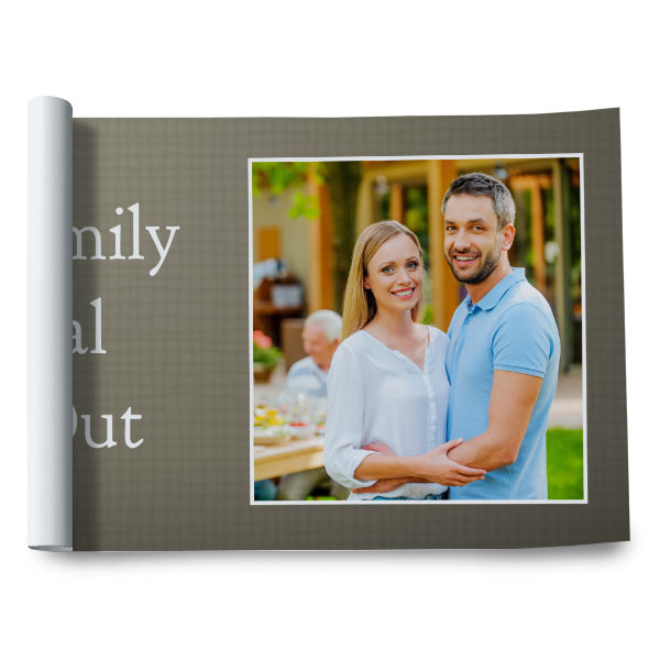 Customize your own paper banner with text and photos for your next celebration.