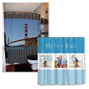 Personalize your bathroom decor with a stylish shower curtain printed with your favorite photos.
