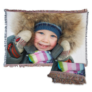 Our woven photo blankets can be customized to fit your style and also make a great wall hanging.