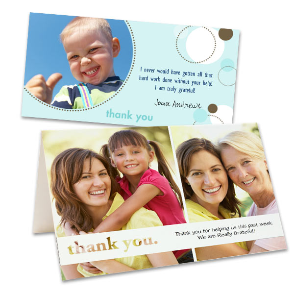 Add a sentimental touch to your thank you greeting by using your favorite photos and custom text.
