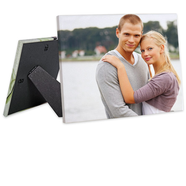 Decorate your shelves or side table with your favorite photos and create a custom easel back canvas.