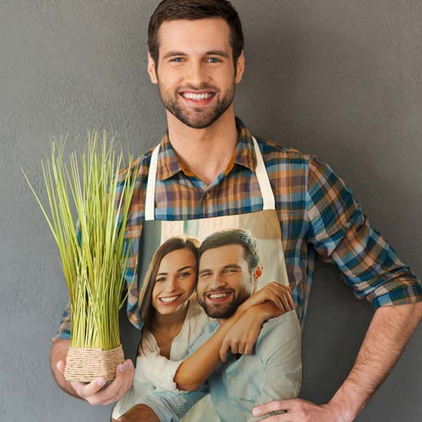 Brighten up your grill attire with photos and text and create a fully printed apron for your home chef