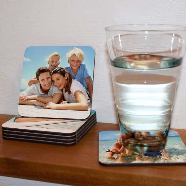 Design your own set of coasters with photos for a personal touch to your dining décor.