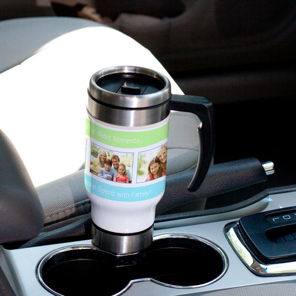 Show off your photos on the go with a personalized travel mug.