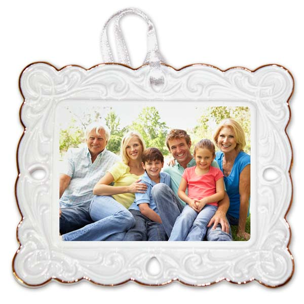 Personalized Photo Postcard Ornament with fancy border highlighted in gold