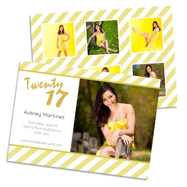 Bright yellow class of 2017 graduation announcement size 5x7 card