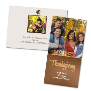 Create the perfect Thanksgiving greeting by using a favorite photo and personalized text.