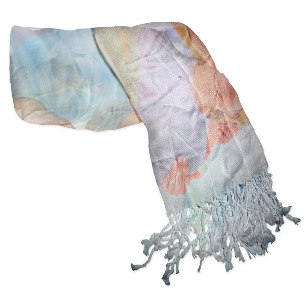 Photo Collage Scarf with tassels to add interest and brighten up your outfit