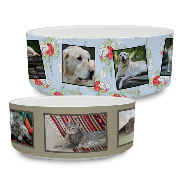 Ceramic Dog and Cat Bowl Personalized with Photos and Designer Backgrounds