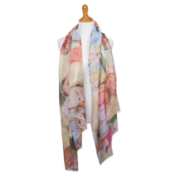 Add character and color to any outfit with our custom sheer photo scarf.