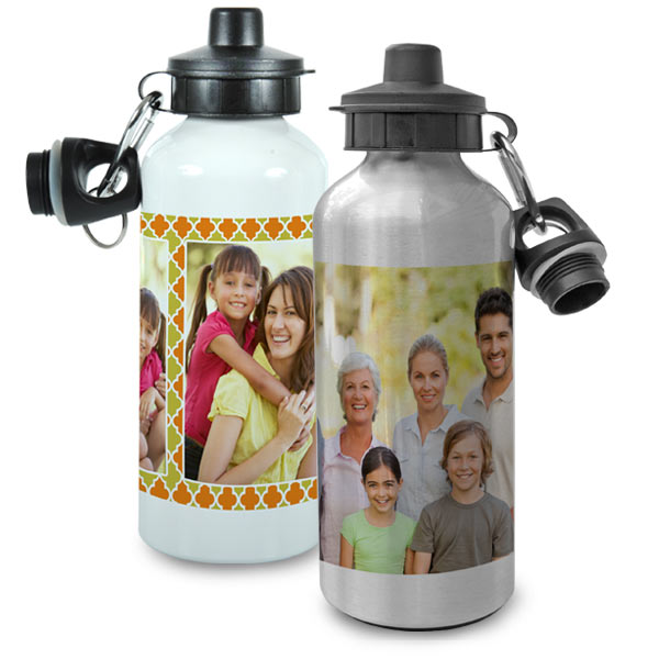 Photo Personalized Water Bottles available in white and metallic