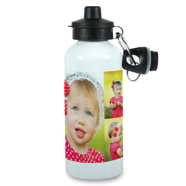 Our water bottle can be customized with your name and favorite photos for the perfect gym accessory.