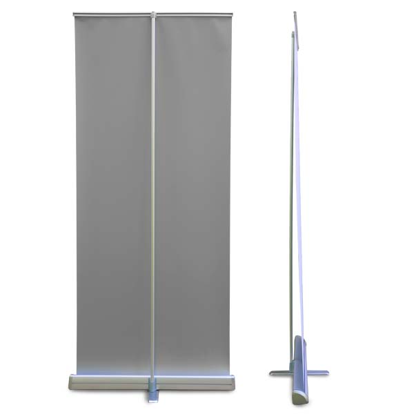 Quality roll up banner back and side view when standing