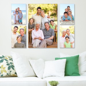 Choose five stunning photos and showcase them on our canvas cluster wall decor set.