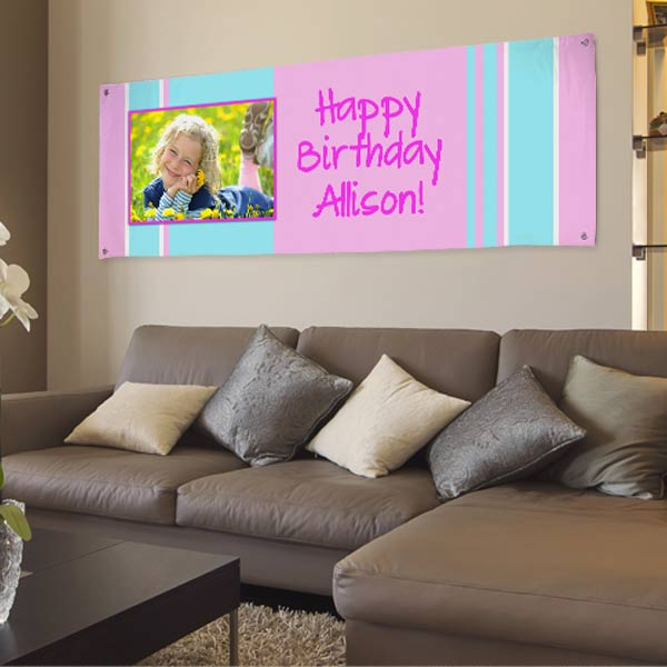 Personalized vinyl banners for birthdays and events, perfect for your child's next birthday