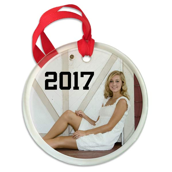 Choose the perfect photo and display it on our custom glass ornament with beveled edges.