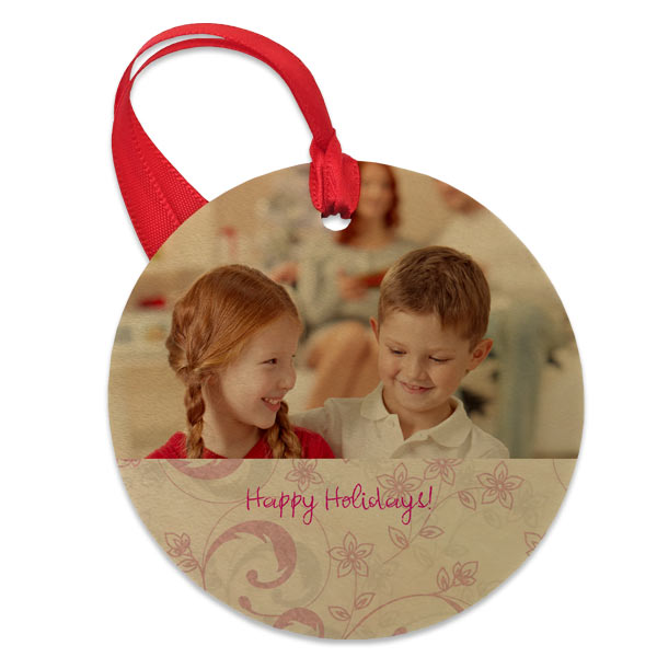 Circle wood photo ornament printed with text and photo art design