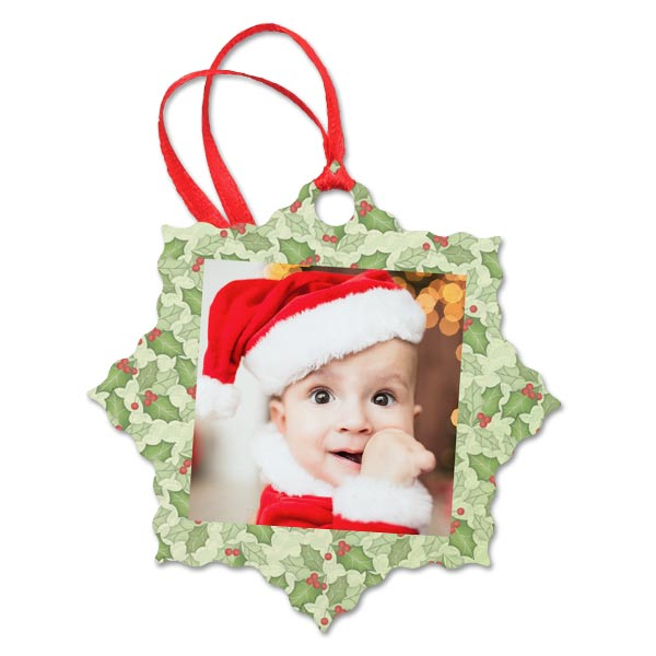 Custom metal snowflake Ornament with photo and Holly artwork