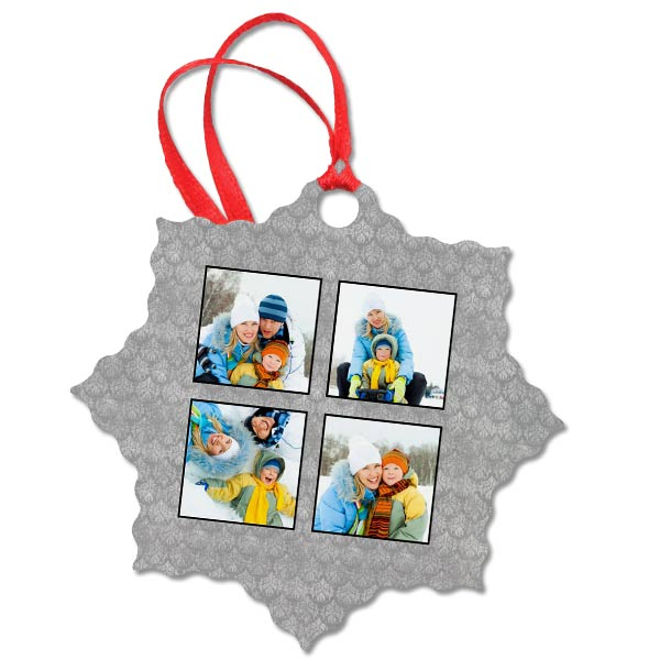 Snowflake aluminum ornament with multiple photo options