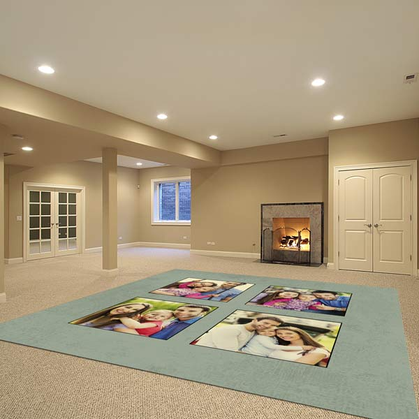 Brighten a room or add personalized interest with photos and patterns on a custom area rug