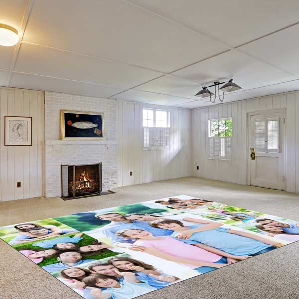 Add a customized touch to your decor with our large photo collage area floor mats.