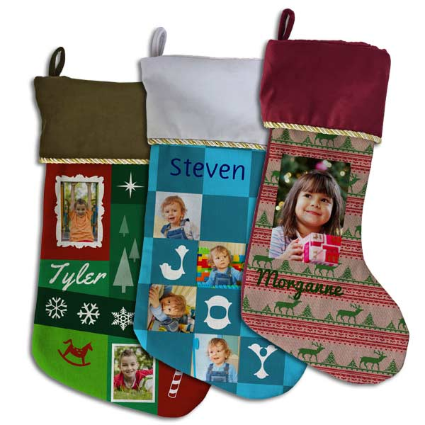 So many custom styles available for you to design your own Christmas stocking