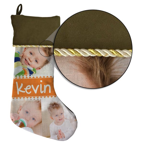 Beautiful burlap material on front with velveteen on top and back of your stocking