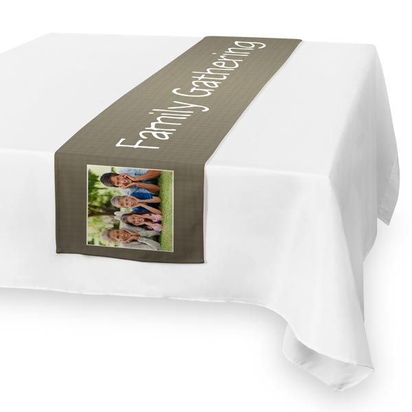 Introduce a stylish flair to your dining decor with a custom printed burlap table runner.
