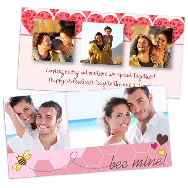 4x8 glossy photo paper cards with your romantic love Valentine's Day photos