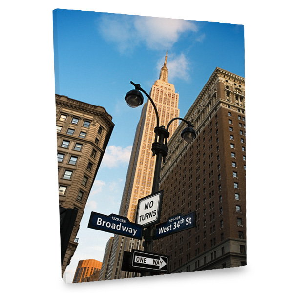 Our Broadway and 34th Street canvas features the empire state building for an urban boost to your decor.