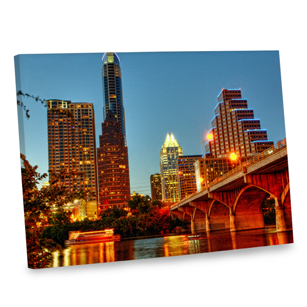 Add an urban feel to your living area with our city lights canvas decor print.