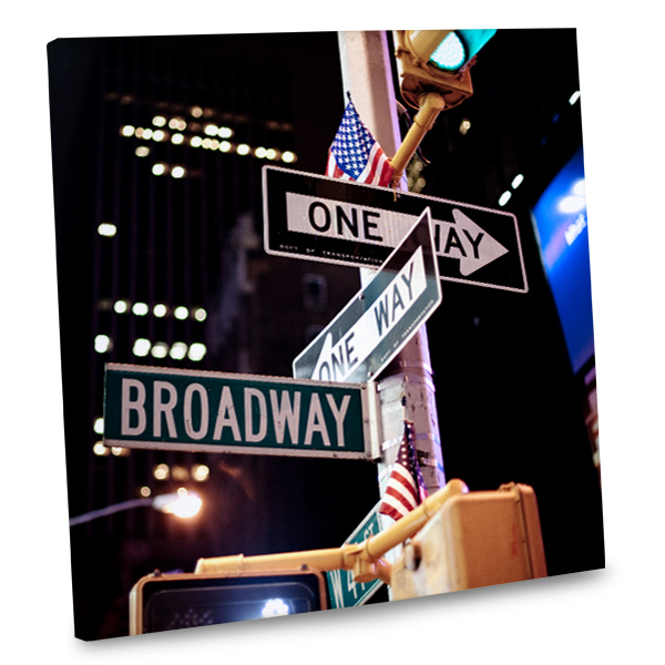 Add the excitement of the Big Apple into your living area decor with our Broadway canvas photo.