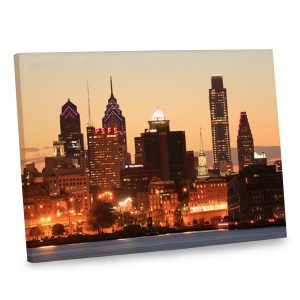 Instantly give any room a view with our elegant Philly cityscape canvas photo.