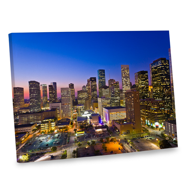 Make a decor statement with our flashy canvas print depicting the Houston skyline.