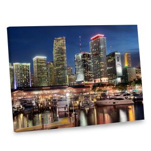 Decorate your home with the city lights of Miami printed on canvas.