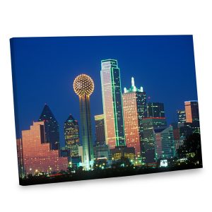 Make your decor stand out with our Dallas city skyline photo printed on quality canvas.