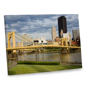 Our elegant canvas print features the Pittsburgh skyline for a unique look to your decor.
